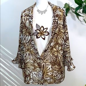 Alfred Dunner Safari Print Blouse & Shell Size 16W